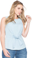 ELOQUII Plus Size Sleeveless Chambray Tie Front Top
