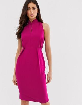 Closet London Closet mandarin collar pencil dress-Pink