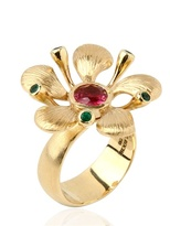 Roche Hibiscus Gold And Tourmaline Ring