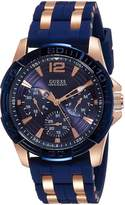 GUESS GUESS? W0366G4 44mm Stainless Steel Case Blue Silicone Mineral Men's Watch