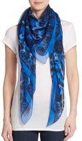 Alexander McQueen Skeleton & Animal Print Silk Scarf
