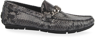 Roberto Cavalli Men's Snake-Embossed Drivers with Logo Chain Ornament