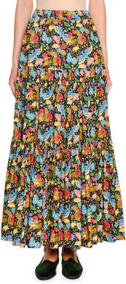 Double J Floral Print Tiered Cotton Maxi Skirt