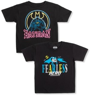 Batman DC Comics Boys 4-18 Neon & Fearless Graphic T-Shirts, 2-Pack