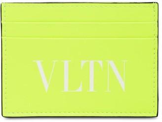 Valentino Logo Printed Leather Card Holder
