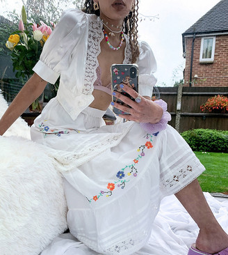 Reclaimed Vintage inspired skirt with embroidery and tiers two-piece in white
