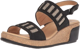 El Naturalista Women's N5006 Pleasant Black/Leaves Wedge Sandal 42 Medium EU (11 US)