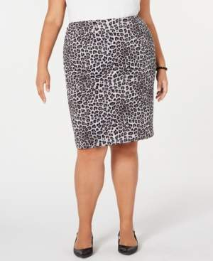 Kasper Plus Size Leopard-Print Pencil Skirt