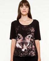 Le Château Fox Print Placement Print T-shirt