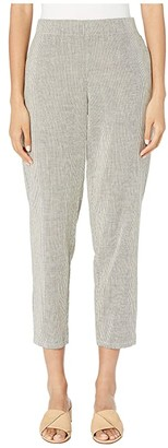 Eileen Fisher Organic Cotton Linen Ticking Stripe Tapered Ankle Pants (Black/Soft White) Women's Casual Pants
