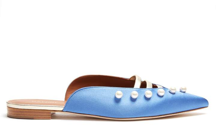 Malone Souliers Zelda faux-pearl embellished satin loafers