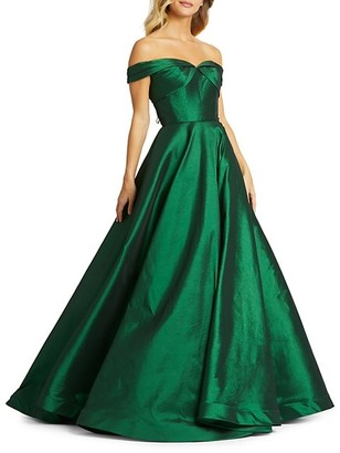 Mac Duggal Off-The-Shoulder Satin Ball Gown