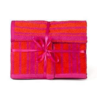 LinenTablecloth Fuchsia & Orange Striped 3 Piece Towel Set