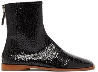 Acne Studios Berta Square-toe Grained Patent-leather Boots - Womens - Black