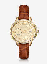 Michael Kors Whitley Pave Gold-Tone And Leather Watch