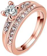 Epinki Gold Plated Ring, Round Cut Cubic Zirconia CZ Engagement Wedding Ring Set for Women- Size 7