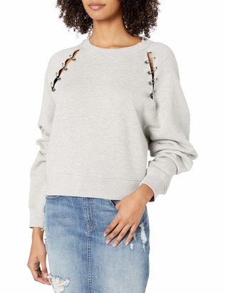 The Kooples Women's Women's Crew Neck Sweater with Silver Safety Pin Embellishment