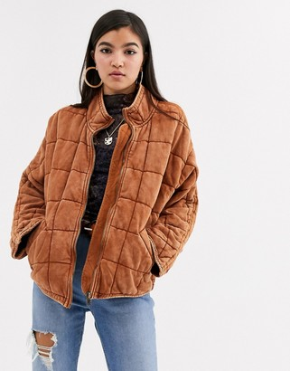Free People Dolman quilted jacket-Red