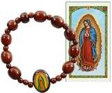 Gifts by Lulee Our Lady of Guadalupe Wood Beaded Bracelet Includes Prayer Card Blessed by His Holiness