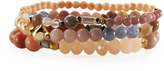 Nakamol Beaded Agate & Crystal Stretch Bracelet Set, Cream Mix