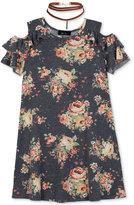 BCX Floral-Print Cold-Shoulder Dress with Necklace, Big Girls (7-16)