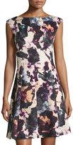 Gabby Skye Asymmetric-Seam Floral-Print Dress, Black/Purple Multi