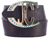 Just Cavalli Crystal-Embellished Buckle Belt