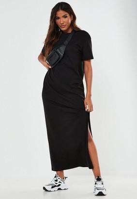 Missguided Black Basic T Shirt Maxi Dress