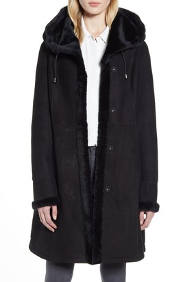 HiSO Genuine Shearling Lined Hooded Coat
