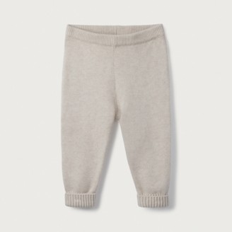 The White Company Organic-Cotton Knitted Leggings, Oatmeal, 12-18mths