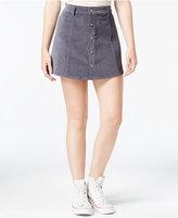 Celebrity Pink Juniors' Button-Front Corduroy Mini Skirt