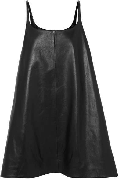 Prada Reversible Leather Mini Dress - Black