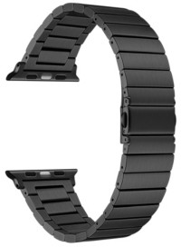 Posh Tech Men and Women Black Stainless Steel Replacement Band for Apple Watch with Removable Links, 38mm