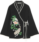 RIXO London Embroidered Crepe De Chine Wrap Top - Black