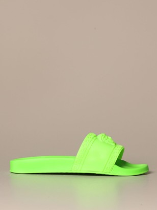 Versace Palazzo Sandal In Fluo Rubber With Medusa Head