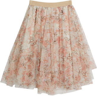 Brunello Cucinelli Girl's Floral Printed Tulle Skirt, Size 12-14