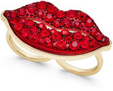 Thalia Sodi Gold-Tone Red Pavé Lip Two Finger Ring, Only at Macy's
