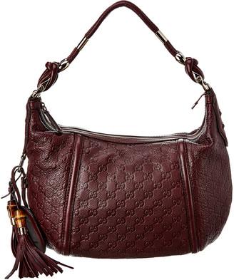 Gucci Purple Guccissima Canvas & Leather Horsebit Hobo Bag