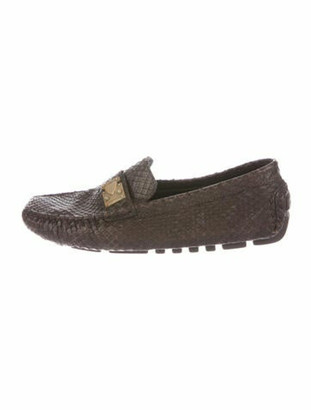 Louis Vuitton Snakeskin Animal Print Loafers Brown