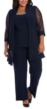 R & M Richards Plus Size Embellished Layered-Look Pantsuit