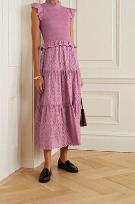 SEA - Ingrid Smocked Ruffled Broderie Anglaise Cotton-poplin Dress - Pink