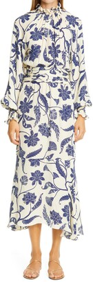 Johanna Ortiz Sacred Writing Floral Ruched Long Sleeve Silk Midi Dress