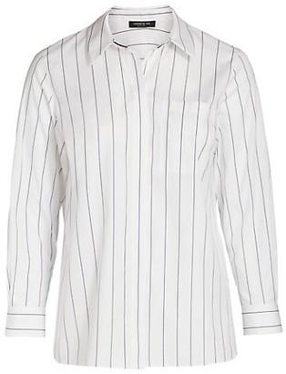 Lafayette 148 New York, Plus Size Ruxton Pinstripe Cotton Shirt