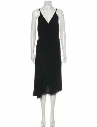Prada V-Neck Midi Length Dress Black