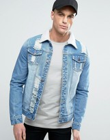 Liquor & Poker Ripped Denim Jacket Borg