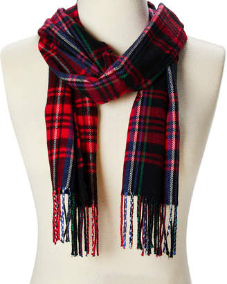 Softer Than Cashmere Cold Weather Scarves RED - Red & Green Plaid Fringe Scarf - Adult