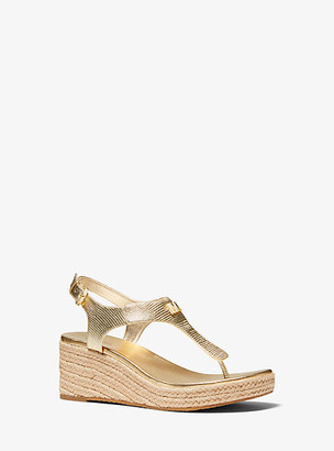 Michael Kors Laney Metallic Lizard-Embossed Leather Espadrille Wedge Sandal