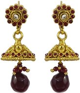Matra Indian Women Goldtone CZ Stone Jhumka Earrings Traditional Designer Jewelry