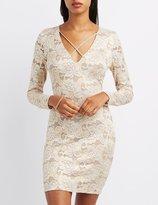 Charlotte Russe Lace Lattice-Front Bodycon Dress