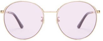 Gucci Web-stripe Round Metal Sunglasses - Womens - Pink Gold